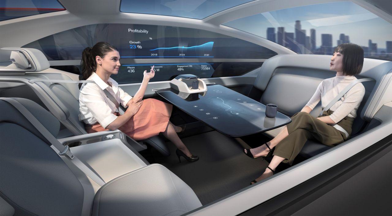Interior do conceito de carro elétrico 360c da Volvo.