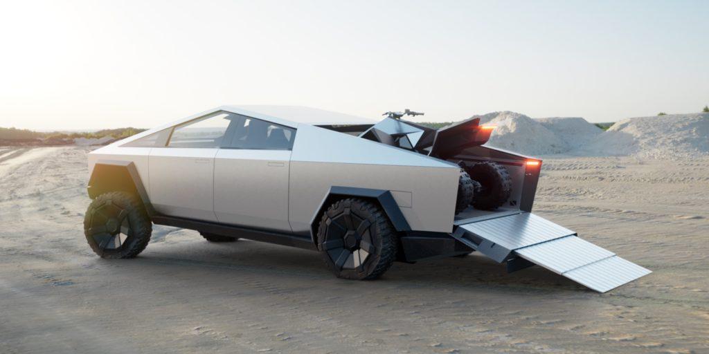 Tesla Cybertruck com ATV elétrico