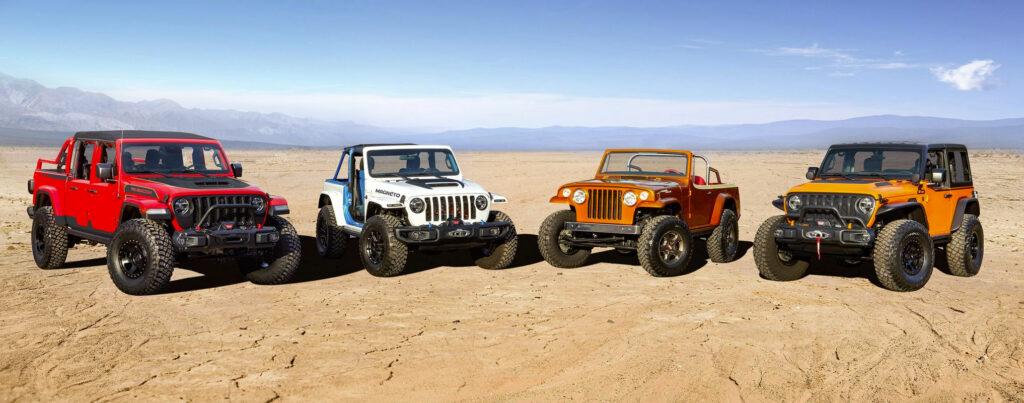 Jeep Red Bare, Jeep Magneto, Jeepster Beach e Jeep Orange Peelz. Imagem: Stellantis/Divulgação